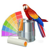 Vector Paint Concept with Parrot. Isolated on white background Royalty Free Stock Images