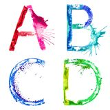 Vector paint splash font A,B,C,D Stock Images