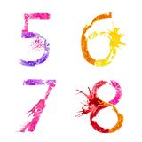 Vector paint splash font 5,6,7,8 Royalty Free Stock Photo