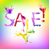 Vector paint splash inscription Sale Stock Photo