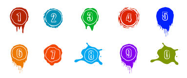 Vector paint splashes with numbers. Color Royalty Free Stock Photo