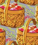 Vector paint style design flower colorful basket royalty free illustration