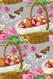 Vector paint style design flower colorful basket stock illustration