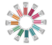 Vector Paint Tubes. Round frame of vector paint tubes on white background Royalty Free Stock Images