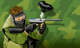 Vector paintball game player shooting stock illustration