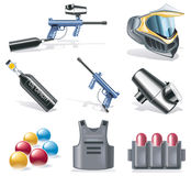 Vector paintball icon set. Set of detailed paintball equipment icons Royalty Free Stock Image