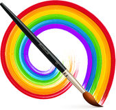 Vector paintbrush with acrylic painted rainbow. Vector realistic paintbrush with acrylic painted rainbow Royalty Free Stock Images