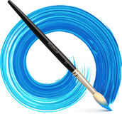 Vector paintbrush with blue brush stroke Stock Photo