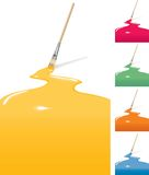 Vector painted background with brushes. In four colors Stock Image