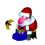 Vector painted a picture of Santa Claus. Vector image Santa Claus with a bag of gifts and a bird on a white background Stock Images