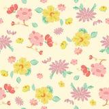 Vector Painterly Pink Yellow Kimono Flowers Royalty Free Stock Photos