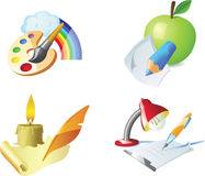 Vector: painting, drawing, sketching, writing. Detailed creative four vector icons Stock Images