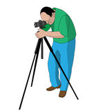 Vector painting of photographer shooting something. With tripod Stock Images