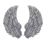 Vector pair of angel wings  on white Royalty Free Stock Photos