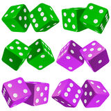 Vector pair of dice icon set. Vector Casino Dice Set of Authentic Icons. Green and Purple Pair of Poker Cubes Isolated on White Background. 3d Board Game Pieces vector illustration