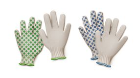 Vector gardening gloves. Vector pairs of green and blue gardening work gloves isolated on white background Royalty Free Stock Image