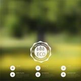 Vector a paisagem borrada, crachá do eco, etiqueta da ecologia, opinião da natureza, Foto de Stock