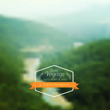 Vector a paisagem borrada, crachá do curso, etiqueta da viagem, natureza vie Foto de Stock Royalty Free