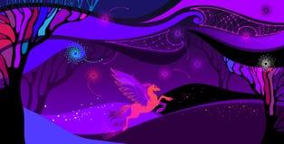 Vector a paisagem ultravioleta com mitologia Pegasus na laranja e no rosa Omposition do ¡ de Ð com o céu nebuloso, o campo e as á