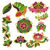 Vector Paisley floral decorative  elements for design, decor Royalty Free Stock Image