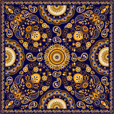 Vector Paisley floral square design Stock Image