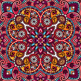 Vector paisley oriental kerchief, pillow, blanket design. Royalty Free Stock Photos