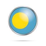 Vector Palauan flag button. Palau flag in glass button style. Stock Photo