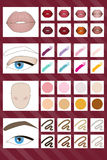 Vector palette of colors for make-up. Stock Image