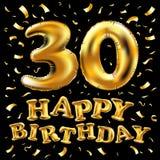 Vector palloni dell'oro della celebrazione di buon compleanno i 30rd e gli scintilli dorati dei coriandoli progettazione dell'ill royalty illustrazione gratis