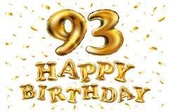 Vector palloni dell'oro della celebrazione di buon compleanno i 93th e gli scintilli dorati dei coriandoli progettazione dell'ill Fotografie Stock Libere da Diritti