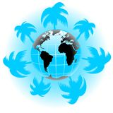 Vector palm globe Stock Images