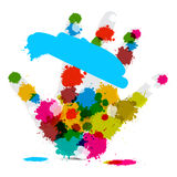 Vector Palm Hand and Colorful Splashes Stock Photography