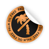 Vector palm oil free bent sticker. Vector bronze bent sticker with symbol of palm oil free Stock Image