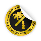 Vector palm oil free bent sticker. Vector gold bent sticker with symbol of palm oil free Royalty Free Stock Photography