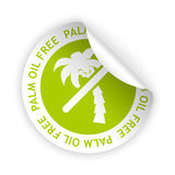 Vector palm oil free bent sticker. Vector white bent sticker with symbol of palm oil free Stock Images