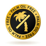 Vector palm oil free gold medal. Vector gold medal with symbol of palm oil free Stock Image