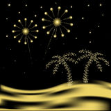 Vector palm tree with fireworks. In desert Stock Photo