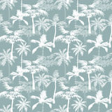 Vector Palm Trees California Grey Texture Seamless Pattern Surface Design With Exotic, Decorative, Hand Drawn Palms. Stock Images