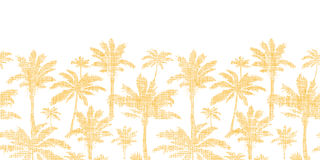 Vector palm trees golden textile horizontal Royalty Free Stock Photography