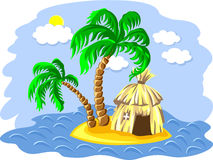 vector Palm trees and hut on an island Royalty Free Stock Image