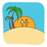 Vector Palm trees illustration with people. For business, emblem, site Royalty Free Stock Image