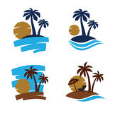 Vector Palm trees silhouette. On white background Royalty Free Stock Photography