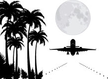 vector palms, moon and plane over runway Stock Photography