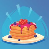 Vector pancakes illustration. Baking with syrup strawberries and blueberries Breakfast concept. Food game icon, cartoon food, vect Stock Photos