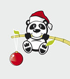 Vector Panda with bamboo. Vector Panda  with bamboo on gray background Royalty Free Stock Photos