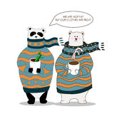 Vector panda,bear wearing scarf and pullover. Vector Illustration, A cute cartoon panda,bear with scarf is holding cup with hot drink in the hands Stock Photos