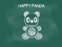 Vector of Panda drawing on the blackboard chalk, Happy Panda Royalty Free Stock Photos