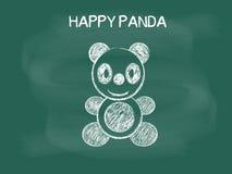 Vector of Panda drawing on the blackboard chalk, Happy Panda Royalty Free Stock Photos