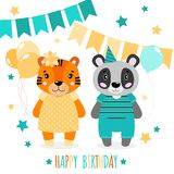 Vector a panda feliz bonito, as meninas e os meninos do tigre Cópia de Scrapbooking Felicite o cartão ilustração stock