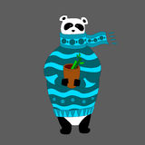 Vector panda wearing scarf and pullover with cup. Vector Illustration, A cute cartoon panda with scarf is holding cup with hot drink in the hands Stock Illustration